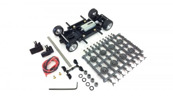 Slotcar Chassis Set 1:32 Bausatz analog MRRC Universal S2 Race Fahrwerk Radstand 71-102mm Inliner Kunststoff komplett m.Motor 333/13k