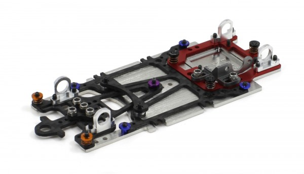Slotcar-Chassis 1:24 SCALEAUTO Sport XS Universal Sidewinder-Fahrwerk Alu-Carbon-Stahl m.Radstand 80-95mm f.Short Can-Motor