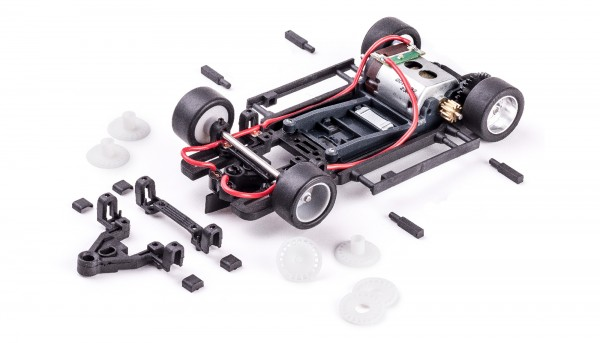 Slotcar Chassis Set 1:32 analog Slot.it Universal HRS-2 Fahrwerk Radstand 64-90mm Sidewinder Kunststoff komplett m.Motor V12/23k