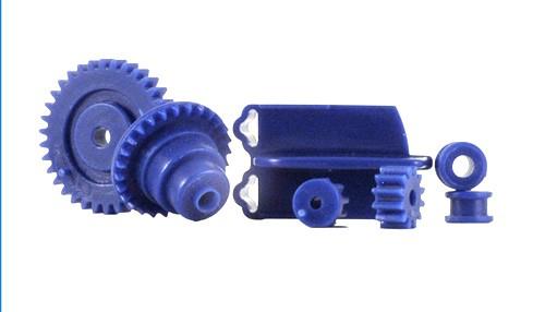 Ersatzteilset inkl.Leitkiele, Achslager u.Zahnräder in blauer Plastikausführung f.Slotcars 1:32 LE MANS MINIATURES