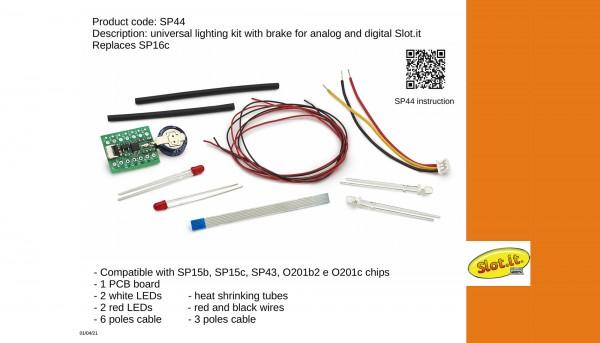 Universal-Beleuchtung Slot.it Super Lighting Kit inkl.Permanentlicht-/Rücklicht- u.Bremslichtfunktion f.Slotcars 1:32 analog u.digital