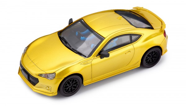 Slotcar 1:32 analog POLICAR Home Racers BRZ yellowmetallic m.Licht