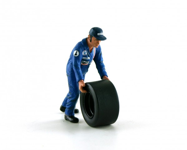 Modellfigur 1:32 LE MANS MINIATURES Mechaniker Francis im blauen Overall f.Reifenwechsel High Detail Resin Collectors Edition