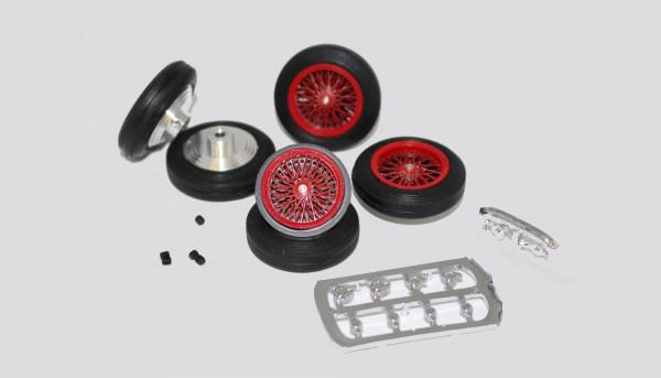 Kompletträder Vintage rot Ø25,5x7mm vorne u.hinten Aluminium m.Vollgummireifen inkl.Ersatzrad f.Slotcars 1:32 m.Ø2,38mm Achsen