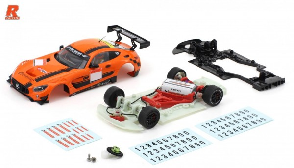 Slotcar 1:32 Bausatz analog Racing-R MBA GT3 Cup Kit m.Fertigkarosserie orange-schwarz, Tuningzubehör u.Decals