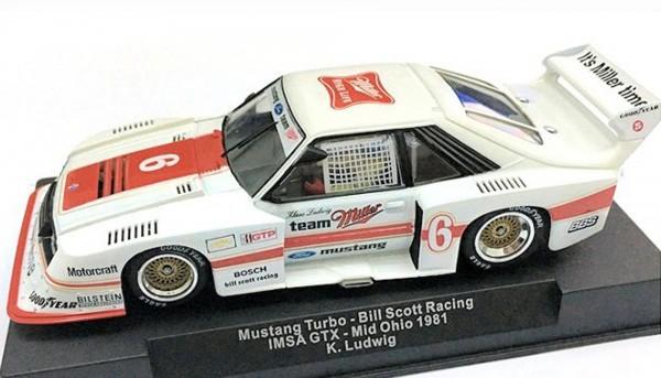 Slotcar 1:32 analog SIDEWAYS Mustang Turbo Mid Ohio 1981 No. 6