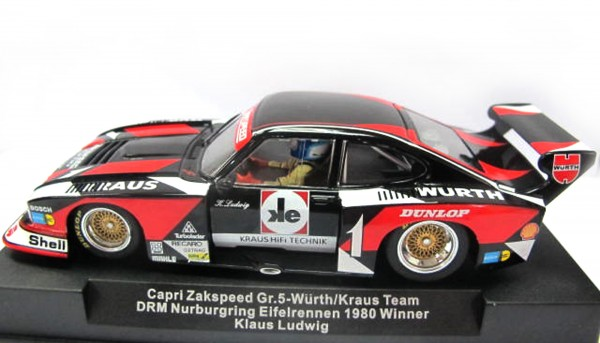 Slotcar 1:32 analog SIDEWAYS Capri Turbo Nürburgring 1980 No. 1