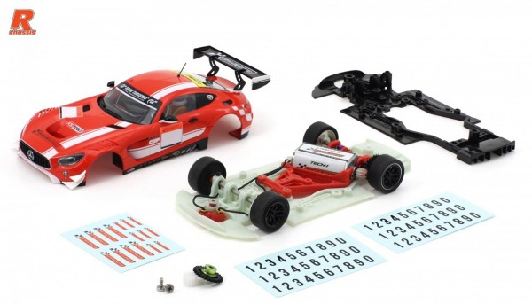Slotcar 1:32 Bausatz analog Racing-R MBA GT3 Cup Kit m.Fertigkarosserie rot-weiß, Tuningzubehör u.Decals