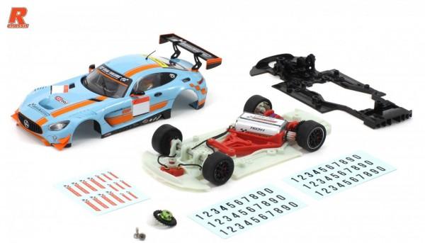 Slotcar 1:32 Bausatz analog Racing-R MBA GT3 Cup Kit m.Fertigkarosserie blau-orange, Tuningzubehör u.Abziehbilder