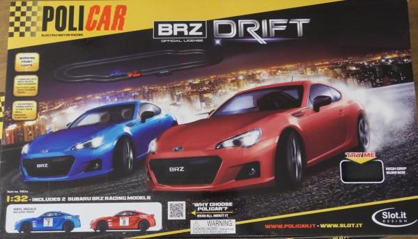 Autorennbahn BRZ Drift 3,8m 1:32 analog POLICAR Slotcar Racing Track System Rennset komplett m.Autos, Schienen u.Zubehör