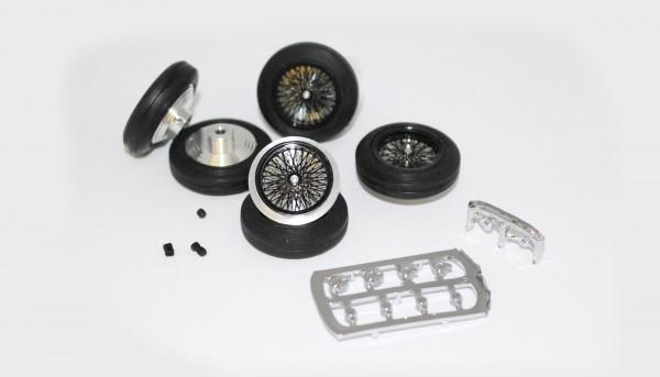 Kompletträder Vintage schwarz Ø25,5x7mm Aluminium vorne u.hinten m.Vollgummireifen inkl.Ersatzrad f.Slotcars 1:32 m.Ø2,38mm Achsen