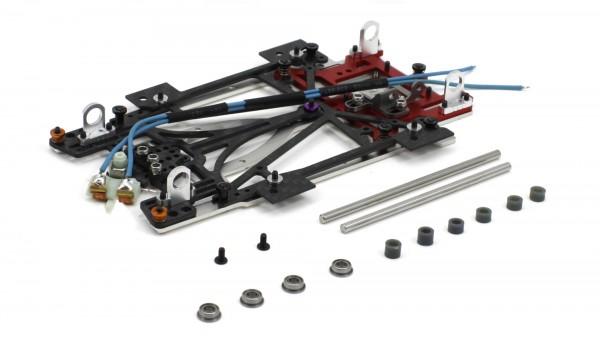 Slotcar-Chassisset 1:24 SCALEAUTO Sport XL TCR Sidewinder-Fahrwerk Alu-Carbon-Stahl m.Radstand 104-134mm f.Short Can-Motor