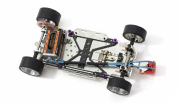Slotcar-Chassis 1:24 Scaleauto SWRC 4x4 Universal-Komplettfahrwerk Anglewinder Alu-Carbon-Stahl Radstand 91-111mm m.Moosgummireifen u.Long-Can Motor