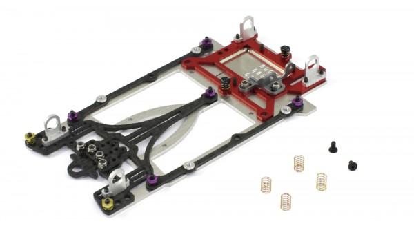 Slotcar-Chassisset 1:24 SCALEAUTO Sport XL LMP Sidewinder-Fahrwerk Alu-Carbon-Stahl m.Radstand 104-134mm f.Long Can-Motor