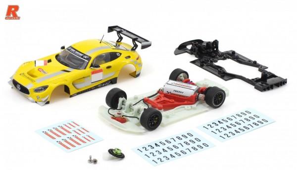 Slotcar 1:32 Bausatz analog Racing-R MBA GT3 Cup Kit m.Fertigkarosserie gelb-schwarz, Tuningzubehör u.Abziehbilder