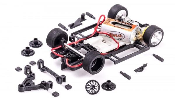 Slotcar Chassis Set 1:32 analog Slot.it Universal HRS-2 Fahrwerk Radstand 64-90mm Anglewinder Kunststoff komplett m.Motor Boxer/21,5k