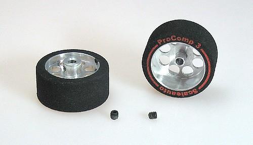 Kompletträder Ø27,5x13mm ProComp-3 Moosgummi m.Ø21mm Alufelgen f.Ø3mm