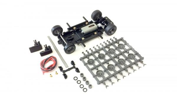 Slotcar Chassis Set 1:32 Bausatz analog MRRC Universal S2 Basic Fahrwerk Radstand 71-102mm Inliner Kunststoff komplett m.Motor 333/13k