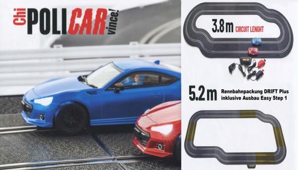 Autorennbahn BRZ Drift Plus 5,2m 1:32 analog POLICAR Slotcar Racing Track System Rennset komplett m.Autos, Schienen u.Zubehör