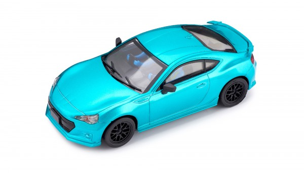 Slotcar 1:32 analog POLICAR Home Racers BRZ GT cyanmetallic m.Licht