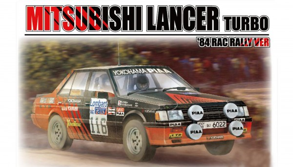 Standmodellbausatz 1:24 BEEMAX Mitsubishi Lancer Turbo Rallye RAC 1984 No. 116