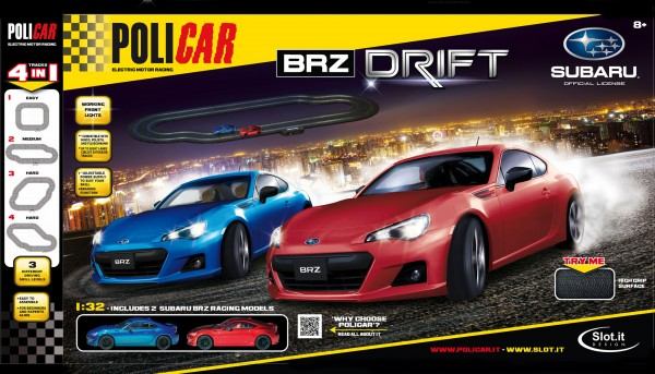 Autorennbahn 1:32 analog Anfangspackung BRZ Drift komplett m.Autos, Zubehör u.Schienen Racing Track System 1:32 (Streckenlänge 3,80m)