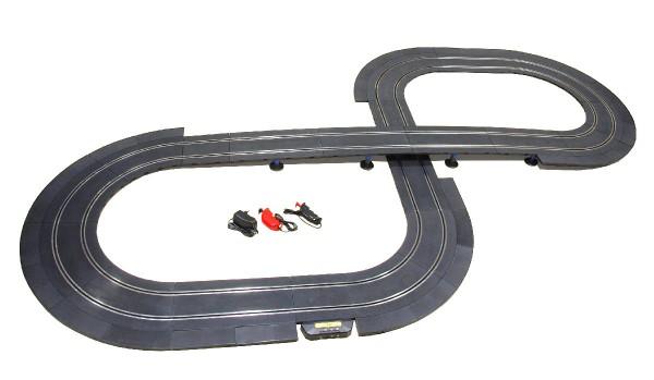 Autorennbahn 1:32 analog POLICAR Anfangspackung Starter Set o.Autos komplett m.Zubehör u.Schienen Racing Track System 1:32 (Streckenlänge 6,50m)