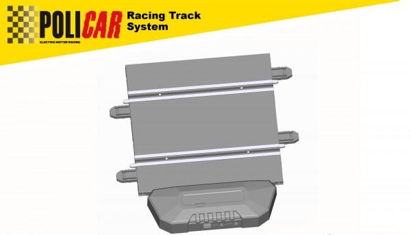Bahnanschluss-Gerade analog POLICAR m.Power Base Spur 1+2 f.POLICAR Autorennbahn 1:32 Racing Track System
