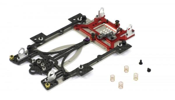 Slotcar-Chassisset 1:24 SCALEAUTO Sport XL Universal Sidewinder-Fahrwerk Alu-Carbon-Stahl m.Radstand 104-134mm f.Short Can-Motor